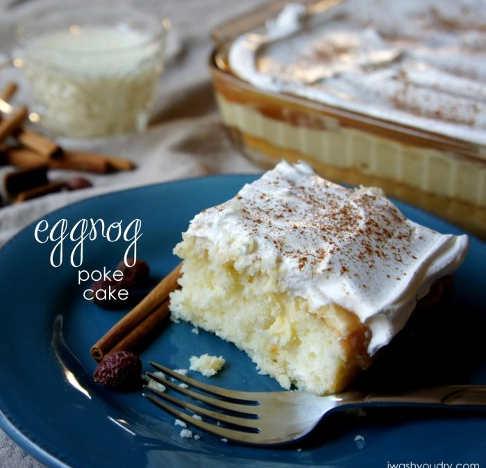 Eggnog Poke Cake with Salted Caramel